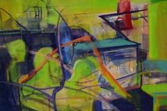 """""""Цветни форми"""", маслени бои, 140/160 см., 2018 г."""