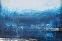 """""""Нюанси на синьо"""", 2019 г., акрилни бои, текстура, 80/100 см."""
