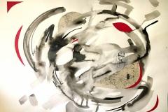 """""""Фин лабиринт"""", колаж, смесена техника, 70/100 см., 2019 г."""