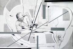 """""""Пътешественик"""", колаж, смесена техника, 50/70 см., 2018 г."""