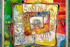 """Пикник"", маслени бои върху платно, колаж, 90/90 см."