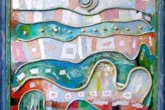 """""""Ден за плуване с делфини"""", маслени бои върху платно, колаж, 90/90 см."""