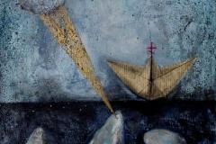 """""""Лодка из морето на живота"""", смесена техника, 30/40"""