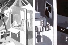 """""""Куклената къща 1"""" – темперна боя (авторска визуална интерпретация по разказ на Туве Янсон)"""