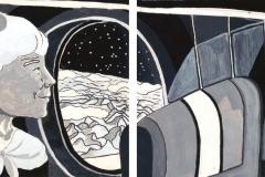 """""""Представа за време 1"""" – темперна боя (авторска визуална интерпретация по разказ на Туве Янсон)"""