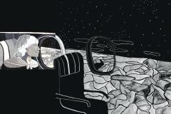 """""""Представа за време 2"""" – темперна боя (авторска визуална интерпретация по разказ на Туве Янсон)"""
