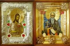 Икони в кутия, изработени съвместно с Наталия Димова, метален обков и ръчно рисувани под стъкло в кутия, по старинна руска техника, 28/35 см.