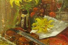 """""""Натюрморт с цигулка"""", акрил, 27/33 см."""
