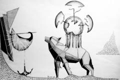 """""""Митология на една бъдеща епоха"""", черни моливи, черен тънкописец върху хартия"""