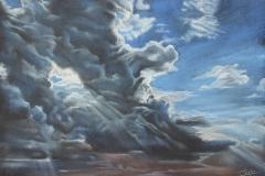 """""""Юнско небе"""", сух пастел върху картон, 50/70 см., юни 2019 г."""