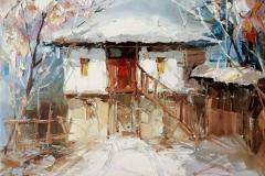 """Тишината на зимата – 76"", маслени бои, платно – 27/35 см., размер с рамка – 39/47 см."