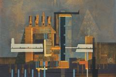 """""""Индустриален пейзаж II"""", акрил върху платно, 30/30 см., 2017"""