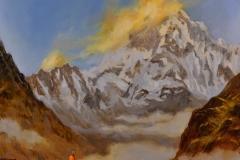 """""""Говорещият с планината"""", масло, 85х85 см"""