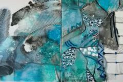 """3. """"Морско дъно"""", диптих, акрил и масло"""