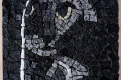 """Котка и мишка"", мозайка – естествен камък, 21/25 см., 2018 г"
