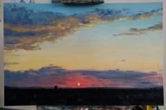 """""""Залез"""", маслени бои върху платно, 75/115 см., 2017 г"""