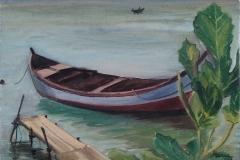 """""""Лодка"""", маслени бои върху платно, 25/35 см., 2018 г."""