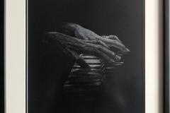 """""""Пиано"""", бяла креда върху черен картон, 30/40 см., 2019 г."""