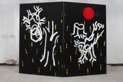 """детайл от """"Идеални перспективи"""" (гръб), шперплат, акрилни бои, 230/300/2 см., 2017 г."""