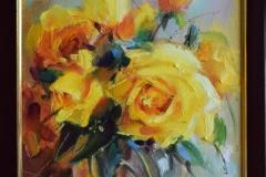 """""""Жълти рози"""", масло, 25/35 см."""