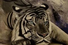 """""""Тигър"""", акрилни бои върху фазер, 30/40 см."""