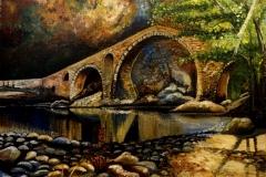 """""""Дяволският мост"""", акрилни бои  върху фазер, 49/39 см."""