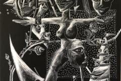 """""""Черно щастие"""", диптих, акрил и маркер върху платно, 165/132 см., 2019 г."""