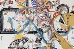 """Златен век"", триптих, масло, пастел, маркер и акрил върху платно, 165/132 см. всяка, 2017 г."