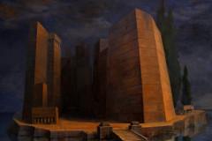 """""""Островът на утопията"""", маслена живопис върху платно, 80 / 101 см"""