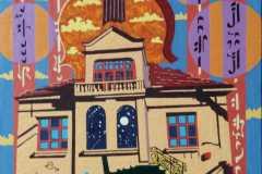 """""""Цветната мелодия на една къща"""", маслени бои върху платно, 50/40 см."""