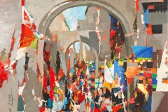 """""""Търговска улица в Родос"""", маслени бои върху платно, 60/60"""