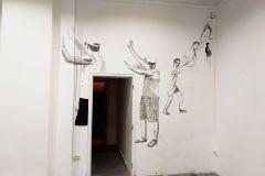 """""""Objectively Incorrect"""", рисунка върху стена в галерия, 2019 г."""