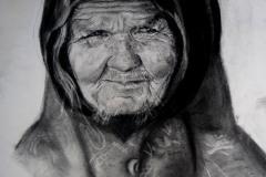 """""""Стара жена"""", въглен, 50/50см., 2017 г."""