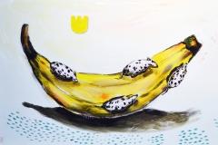 """GMO platano"", oil and acrylic on canvas, 70/56 cm., 2014"