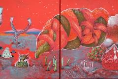 """Mesmerized Dreams"", acrylic on canvas, 2 x 30/30 cm., 2014"